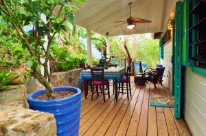 Dine outside on the covered patio