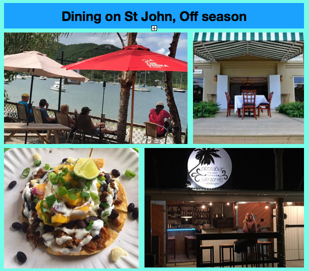 Restaurant closures summer fall 2017: off season on St John Virgin Islands. List of which restaurants will close and when.