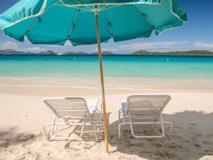 Shade umbrellas Honeymoon Beach, St John VI